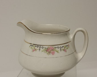 Vintage Taylor Smith Taylor Iona China Creamer with Sweet Pink Roses; USA