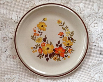 Hearthside Casual Elegance Plates, Retro Plates, Retro Dinner Plates, Orange Gold And Brown, Vintage Stoneware