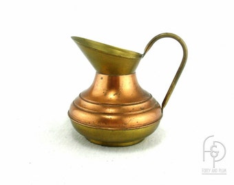 Small Copper and Brass Pitcher with Bale Handle Made in England