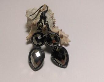 Black metalic crystal drop pendant fish hook earrings