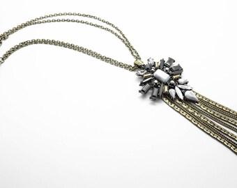 stone fringe necklace, Crystal Necklace, fringe Necklace, long Necklace, Crystal Pendant, Boho Jewelry, bohemian necklace, gypsy necklace.