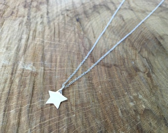 Silver Star Initial Charm Necklace