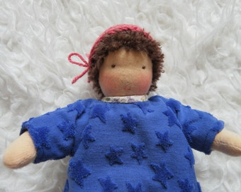 Pia, little rag doll with sleeping bag