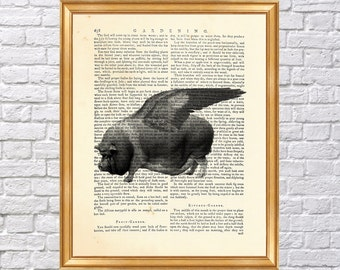 When pigs fly -  illustration of pig with wings, Flying pig Art Printed on Old Dictionary page, Art Print Vintage Book Page 8 x 10 inches