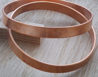 Set of 2 Solid Handmade Wide Copper Bangle (2mm x 10mm) - free UK delivery