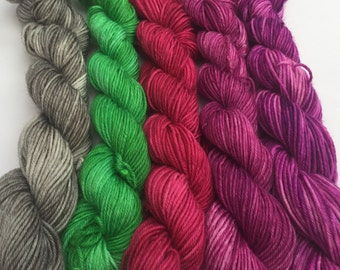 "Hand Dyed Yarn ""Blackberry Smoothie Split"" Mini Skeins"