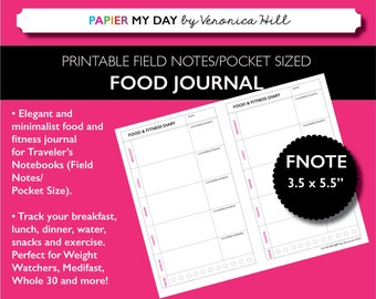 Field Notes Size Meal Log - Printable Food Diary / Food Journal for Field Notes and Pocket Travelers Notebooks
