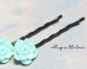 Mint Flower Bobby Pins - Sakura Blossom Bobby Pins