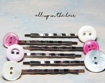 Pink Bobby Pins - Button Bobby Pins - Pink Button Bobby Pins - Bobby Pin Sets