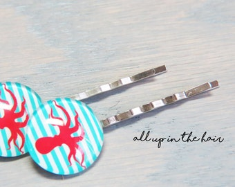Nautical Bobby Pins - Octopus Bobby Pins