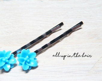 Blue Flower Hair Slides - Lily Bobby Pins - Blue Lilies