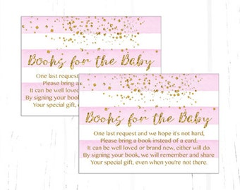 Pink and Gold Baby Shower Bring a Book Instead of a Card Insert, Confetti Baby Shower Book Request, Book Insert Instant Download Printable