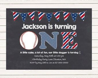 Baseball 1st Birthday Invitations, Baseball Invitations, Red White Blue 1st, 2nd, 3rd First Birthday Invitation, Digital JPEG PDF Printable