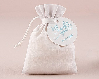 Drawstring Printable Wedding Favour, Party, Gift Bag - White Linen - Pack of 6