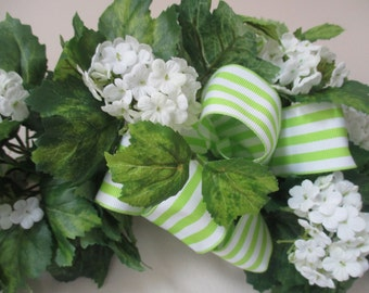 """24"""" Swag White Blossom Floral Wall Hanging with Green Striped Bow Home Decor Silk Floral Wall Arrangement  #249"""