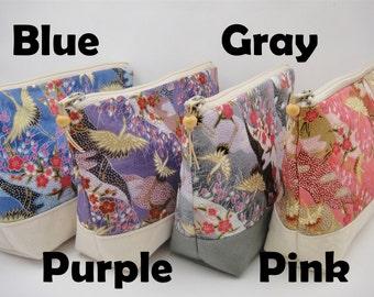 Japanese makeup bag, Zipper pouch, Dance of cranes