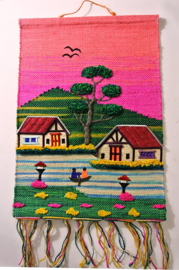 Handmade Jute Cloth Patchwork Wall Hanging Fabric Artwork