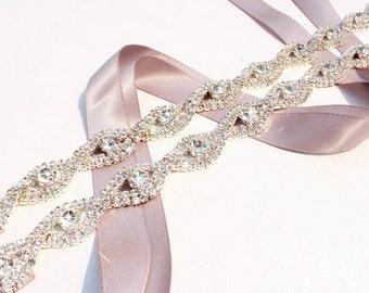Thin Bridesmaids Belt  Crystal Bridal sash Thin Crystal Rhinestone Belt Bridal headband Wedding Dress Belt