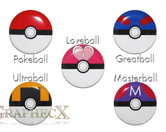 Fan-made Pokemon Pokeball Greatball Ultraball Masterball Loveball cosplay inspired personalized buttons