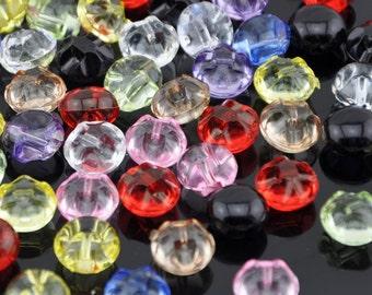 100x Colorful Plastic Button Hemispherical Straight hole PT20