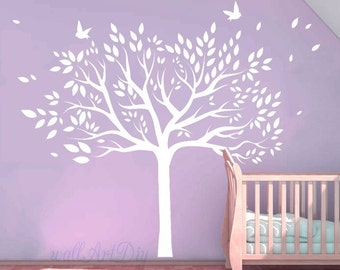 White Tree Wall Decals Giant Tree Wall Murals Vinyl Tree Wall Stickers  Large Tree And Birds