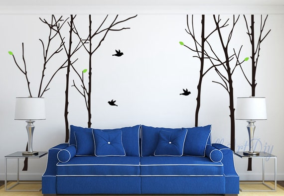Grand arbre mural stickers arbre oiseaux mural autocollant for Pochoir mural geant
