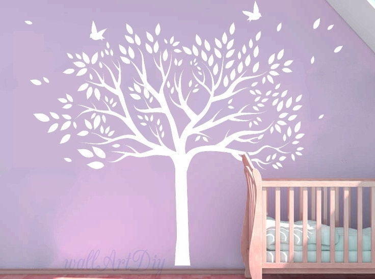 White tree wall decals giant tree wall murals vinyl tree wall - Sticker mural geant ...