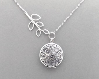 Sideways, Tree, Branch, Locket, Photo, Silver, Necklace, Modern, Beautiful, Picture, Necklace, Lovers, Friends, Sister, Gift