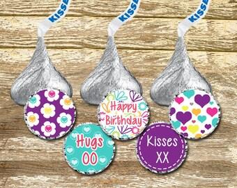 Hershey Kisses Stickers - Birthday Girl, Turquoise Purple Birthday, Birthday Stickers, Birthday Favor, Purple Birthday, Personalized Hershey