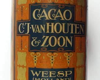 1900s Holland Very BIG Size CACAO Tin CAN Van Houten & Zoon Height 31 cm!