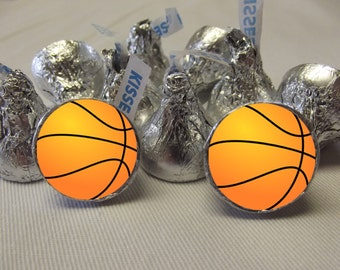 Basketball Hershey Kiss Stickers, Basketball Favor Stickers , Basketball Hershey Kiss Labels, 108 Basketball Candy Stickers