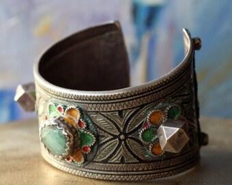 Old Moroccan Berber Silver enamelled  Bracelet with Amasonite