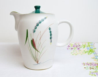 1950s stoneware handpainted coffee pot in greenwheat by denby