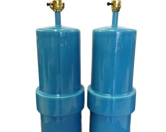Vintage Blue Turqoise Cylinder Lamps - A Pair