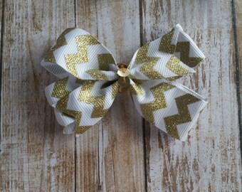 Small Gold & White Chevron Pinwheel Bow