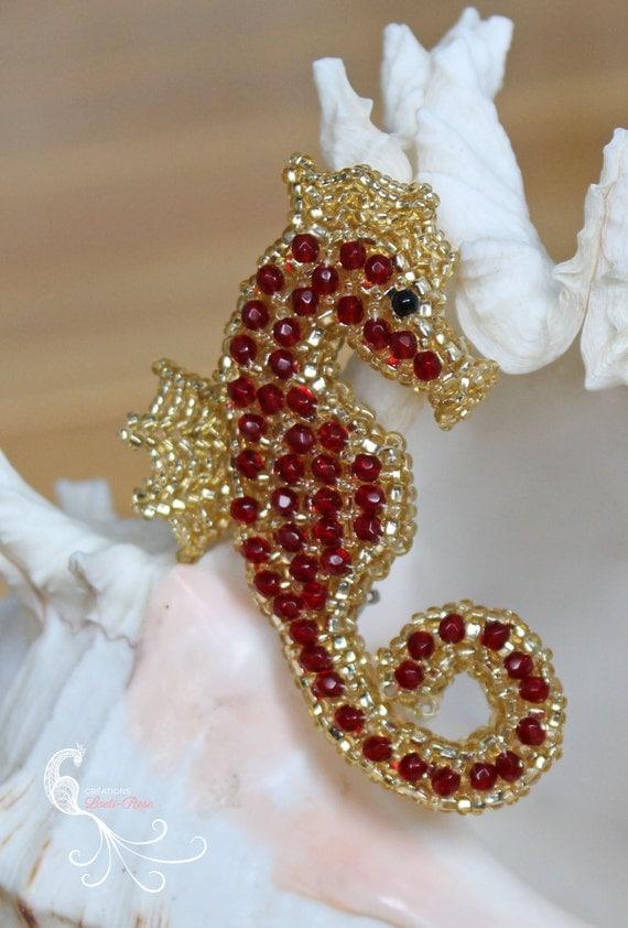 seed bead seahorse beaded seahorse beaded brooch jewelry