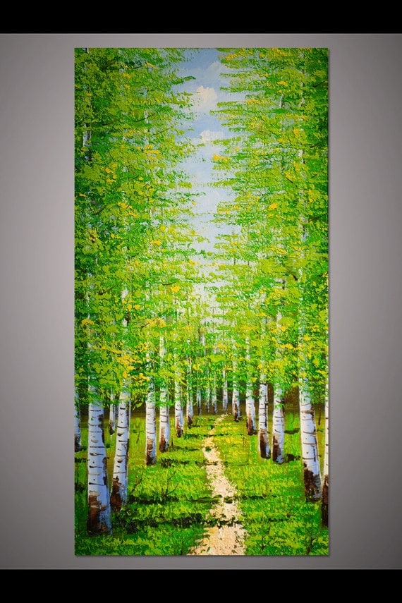 Art Wall Jr Green Jacket : Large hand painted home decor wall art vertical green birch