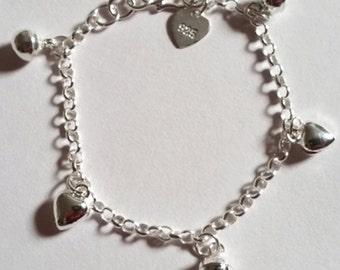 Sweet Hearts & Ball Bell Dangling 925 Sterling Silver Charms Baby Girls Bracelet