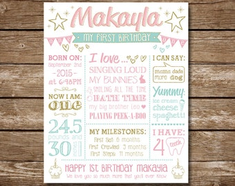 Girl first Birthday Sign – Baby Birthday Poster – 1st Birthday – Birthday Decoration - Baby's Birthday