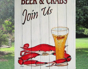 Beer and Crabs Join Us  Slat Sign