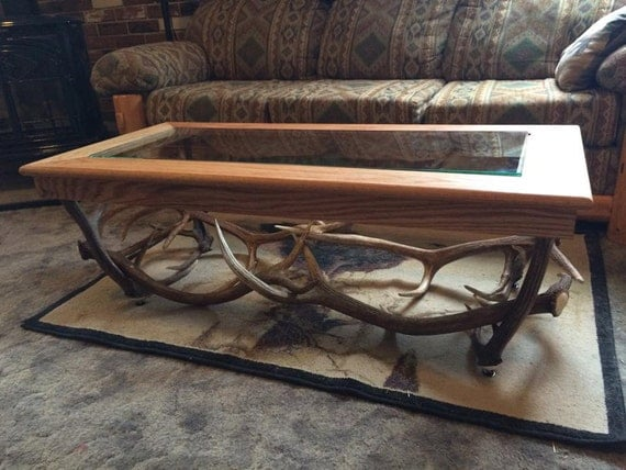 Real Elk Antler Coffee Table With Solid Oak By Theantlerhouse