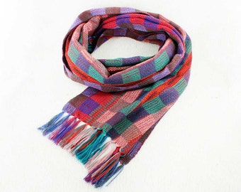 Purple Plaid Scarf - Colorful Scarf - Hand Woven Scarf - Womens Plaid Scarf - Scarves for Women - Fall Plaid Scarf - Handmade Scarf 6190