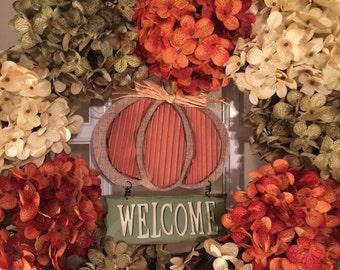 Fall Hydrangea Welcome Wreath
