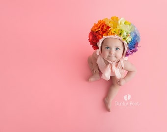 PRE-ORDER rainbow baby Sitter Flower Bonnet Made to Order Hat Baby Girl Photo Prop Floral UK Seller LouLouBoutique Photography Props