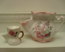 Miniature Shaving Mug Vintage Shaving Scuttle Gilded China Mug Cream China Pink Rose Vintage Bathroom Accessory Collectible Miniature