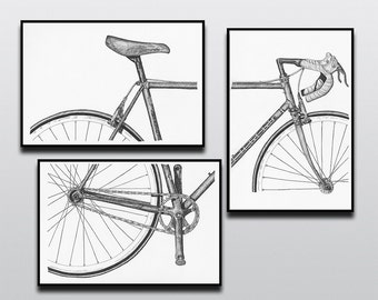Bicycle Art Print, Bike Art Print, Vintage Campagnolo : 3-Piece Bianchi Art Print Set
