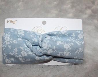 1-3Y Light Blue Floral Turban
