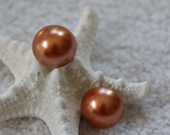 Copper Colored Faux Pearl Vintage Clip On Earrings