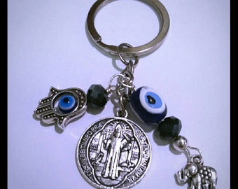 Keychain protection four amulets, evil eye