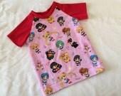 LAST CHANCE! Sailor Moon Raglan Baseball Tee Shirt Featuring Sailor Mercury, Venus, Mars, Jupiter, Saturn, Uranus, Neptune, Pluto, Moon, and